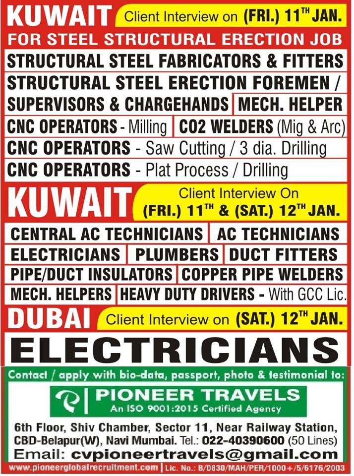 URGENTLY REQUIRED KUWAIT FOR STEEL STRUCTURAL ERECTION JOB / DUBAI