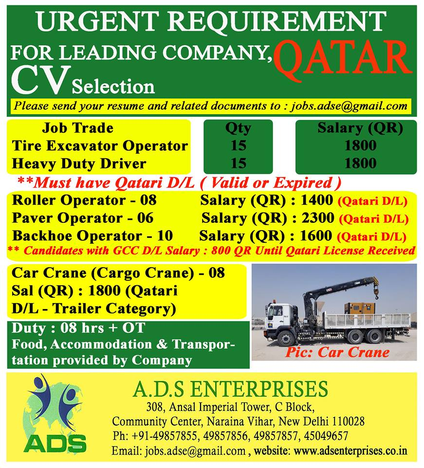 URGENT REQUIREMENT FOR LEADING COMPANY IN QATAR, CV Selection