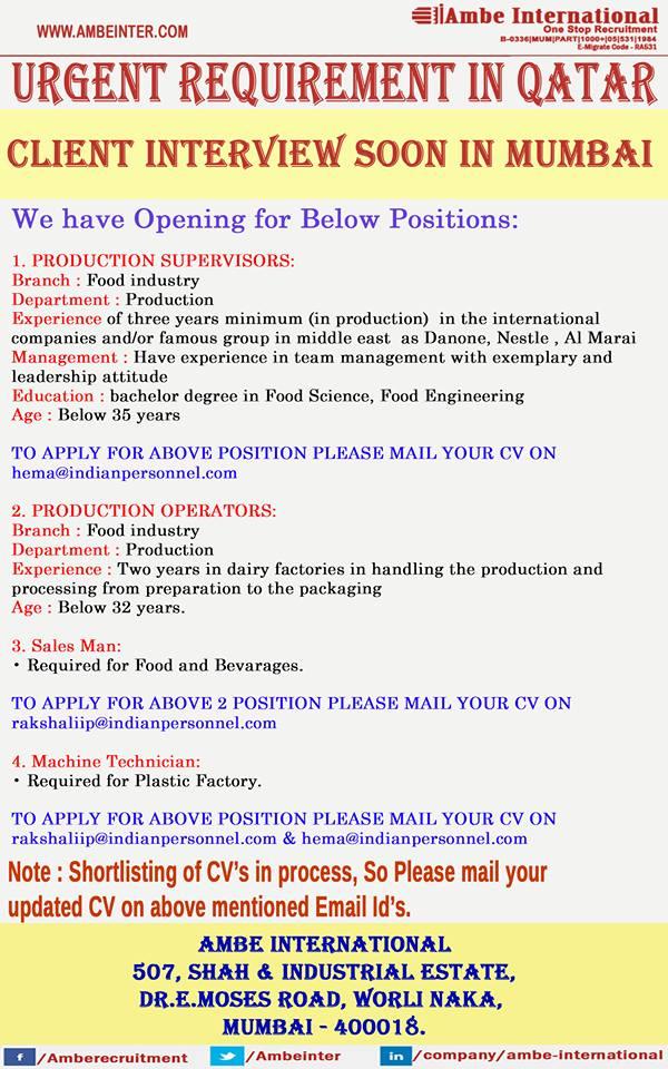 Urgent Requirement for Qatar (Production / Sales / Technician Jobs