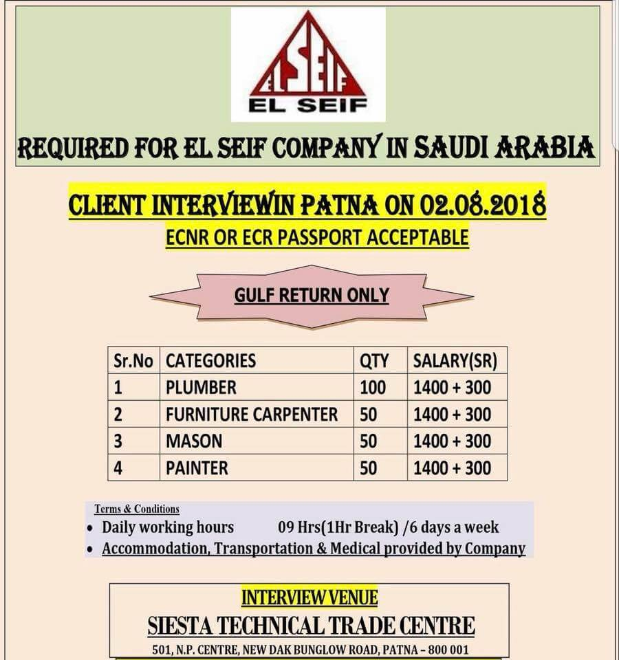 Top urgent requirement for leading construction company (El Seif) in KSA