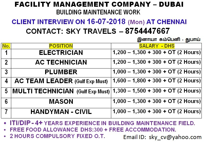 Facility Maintenance Job - Dubai