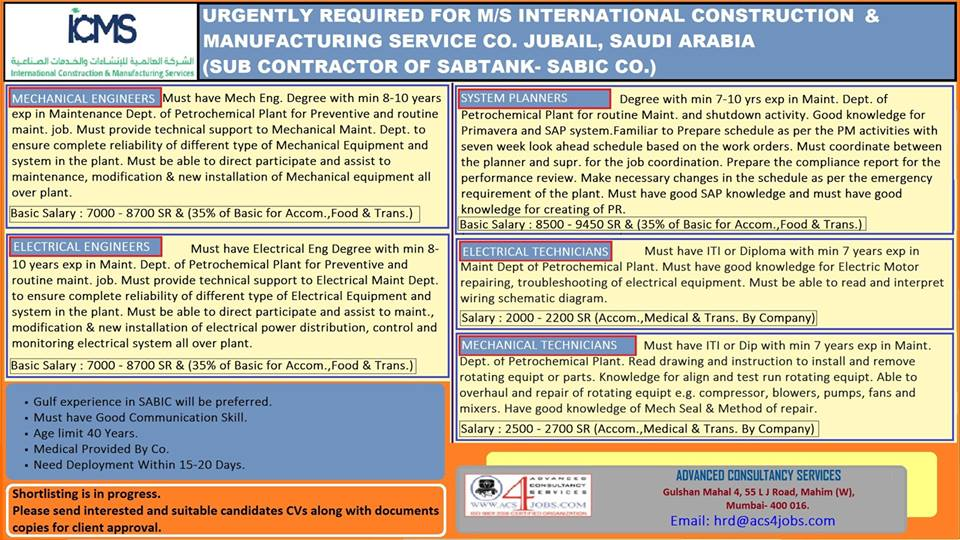 REQUIRED FOR M/S INTERNATIONAL CONSTRUCTION & MANUFACTURING