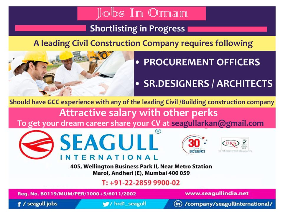 Requires for leading Civil Construction Company in Oman