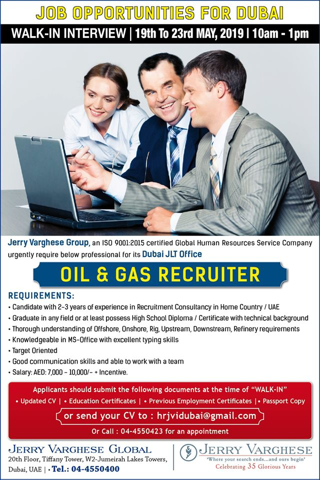 Oil & Gas Recruiter with Jerry Varghese Group U A E