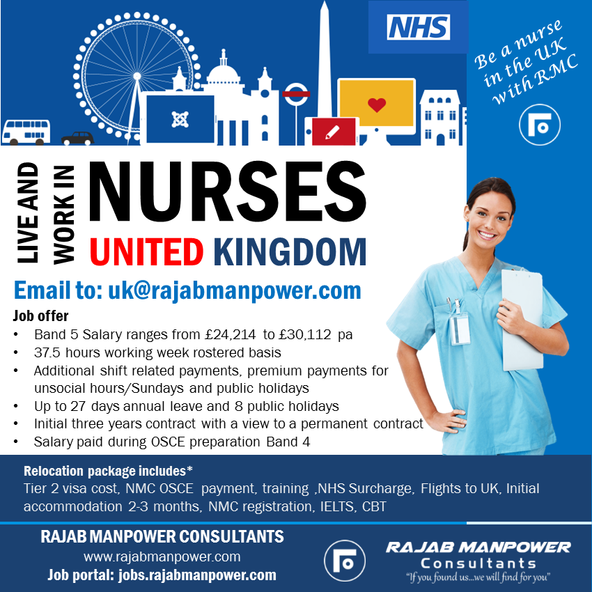 Free recruitment for Nurses to work in UK - NHS