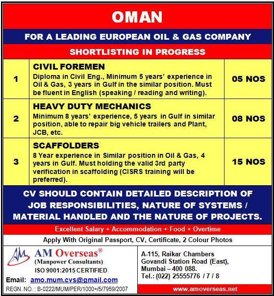 Jobs in Oman – For Leading European Oil & Gas Company