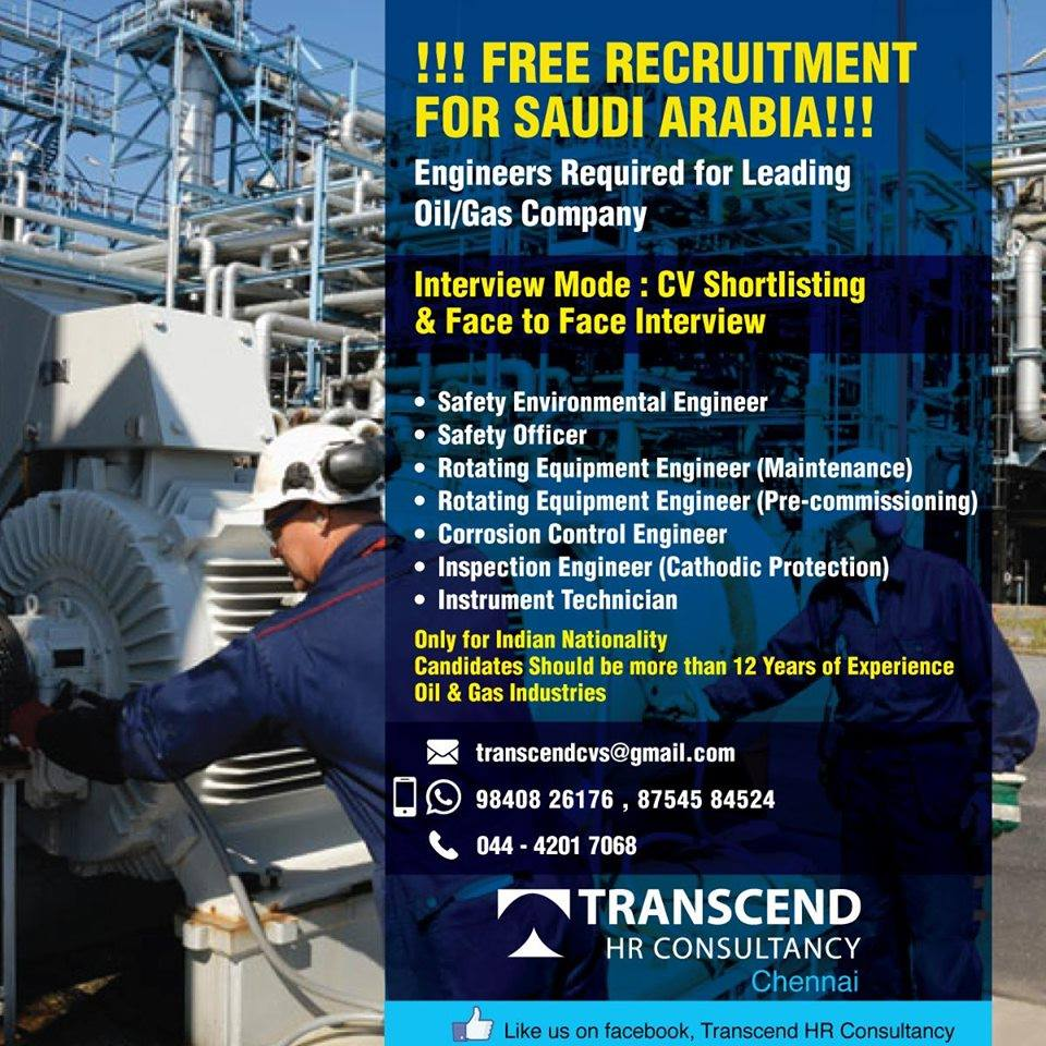 FREE RECRUITMENT -Engineer's Required for Oil & Gas Company