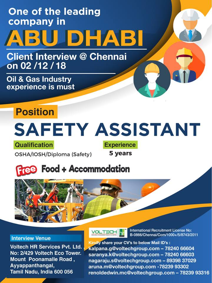 SAFETY ASSISTANT - One of the leading company in ABU DHABI
