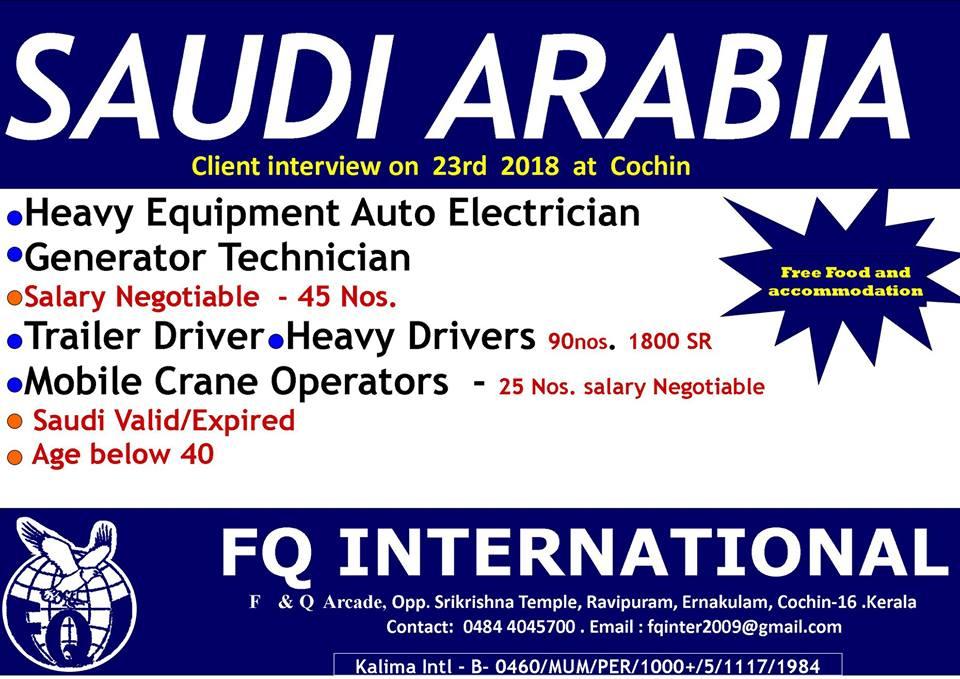 Technicians / Drivers / Operators for Saudi Arabia