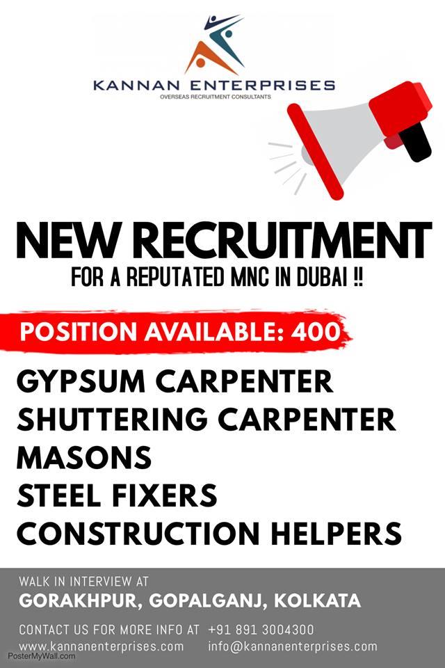 RECRUITMENT FOR A REPUTATED MNC IN DUBAI