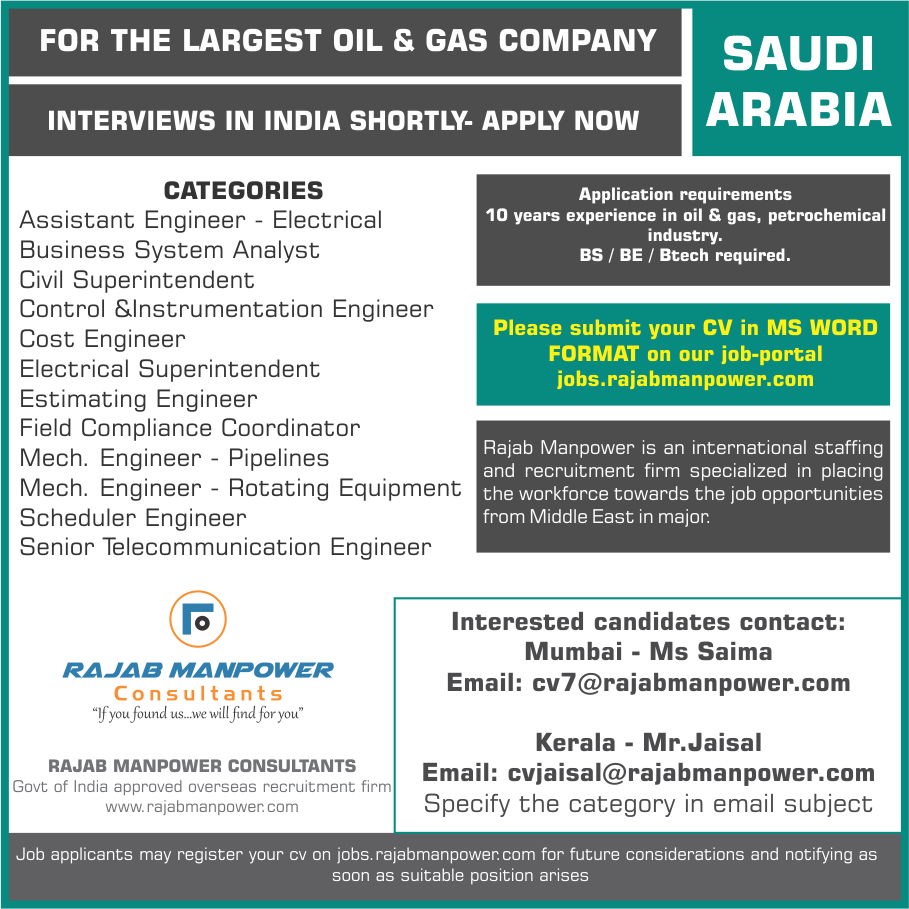 Recruitment for Saudi Arabia - largest oil and gas company