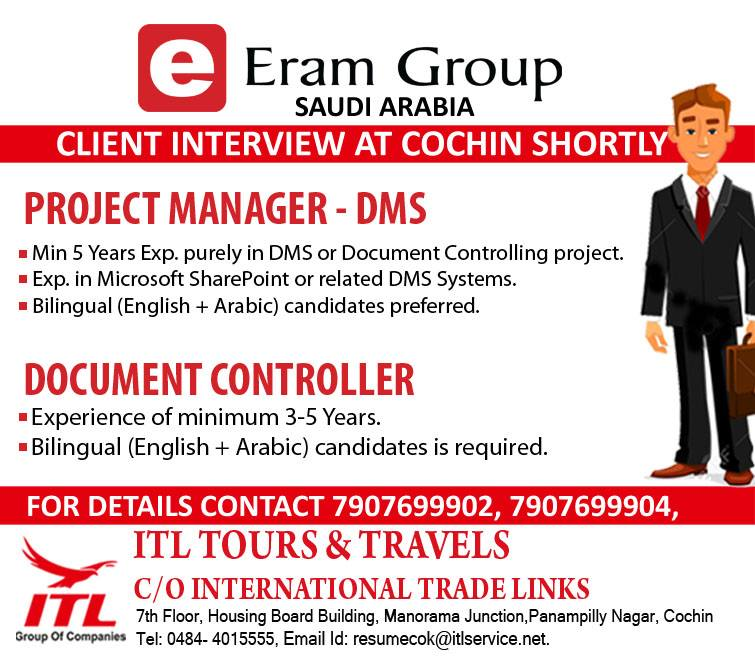 PROJECT MANAGER - DMS & DOCUMENT CONTROLLER For Eram Group SAUDI ARABIA
