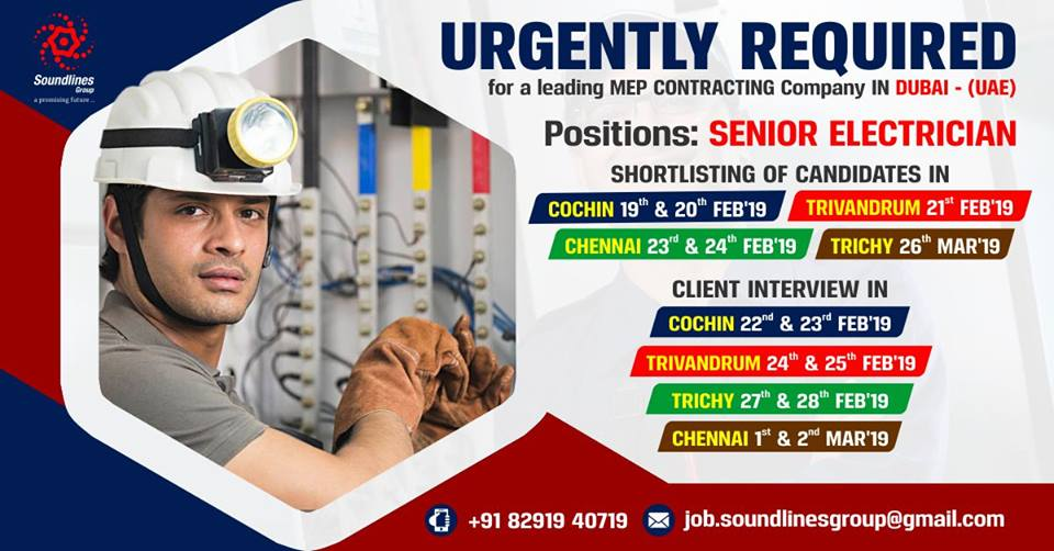 Senior Electrician for Leading MEP Contracting Company in UAE