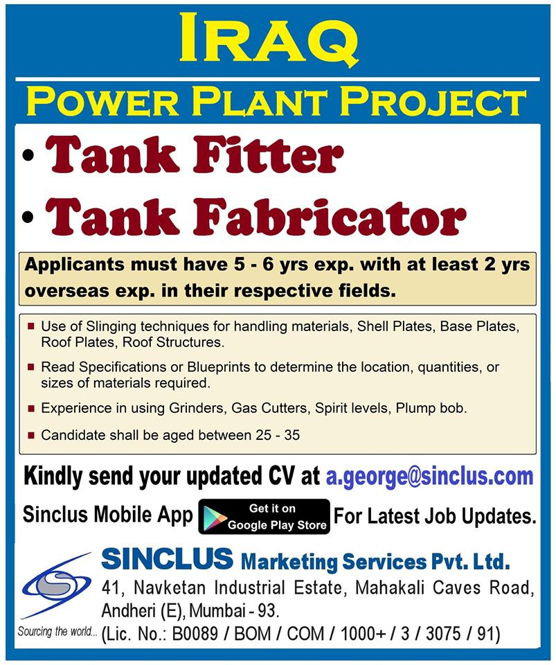 HIRING FOR IRAQ - POWER PLANT PROJECT