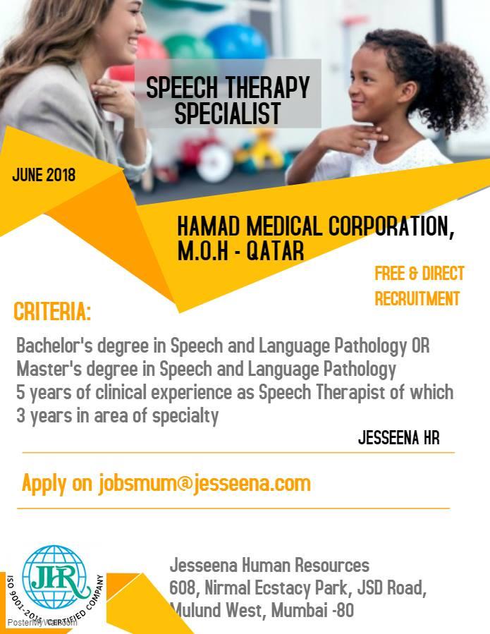Speech Therapist Vacancies in Hamad Medical Corporation, Qatar