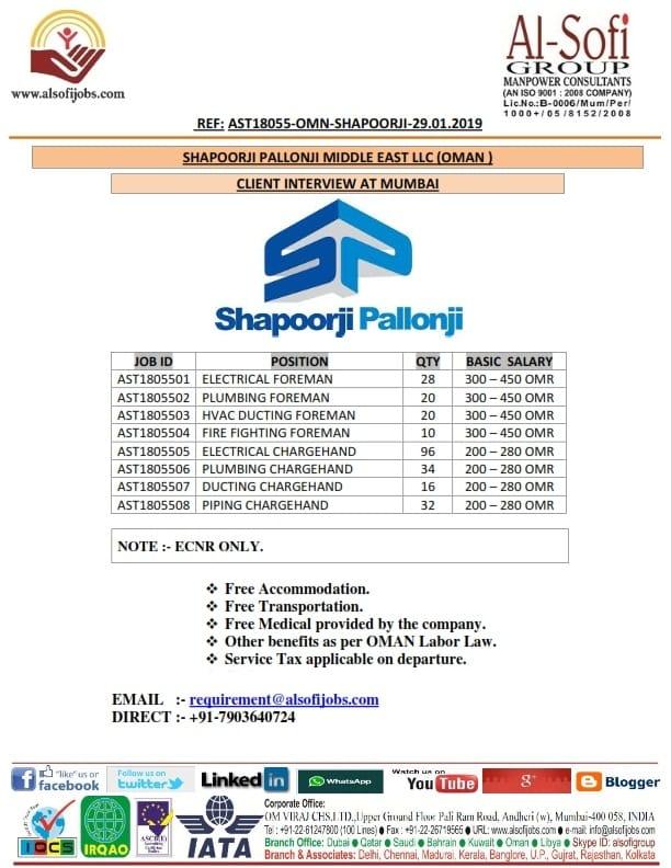 HIRING FOR SHAPOORJI PALLONJI MIDDLE EAST LLC (OMAN