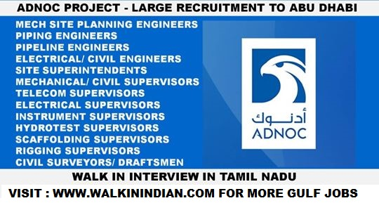 RECRUITMENT TO ADNOC PROJECT IN ABU DHABI