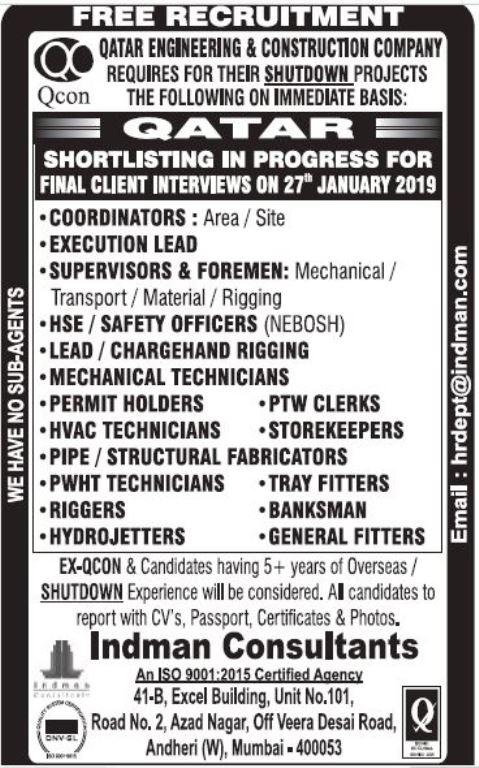 FREE RECRUITMENT FOR QATAR ENGINEERING & CONSTRUCTION