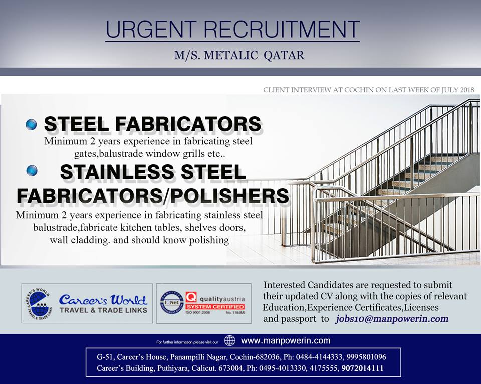 Urgent Recruitment for M/s Metallic – Qatar