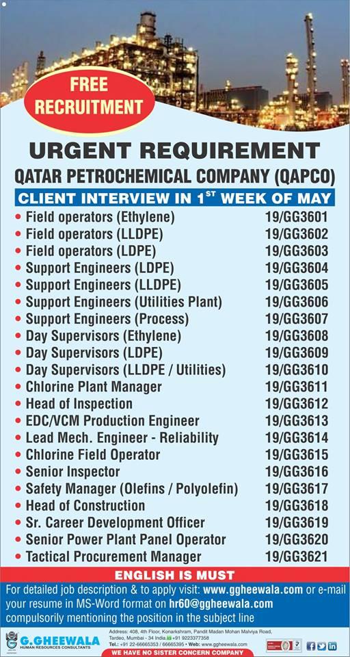 Free Recruitment Urgent Requirement Qatar Petrochemical