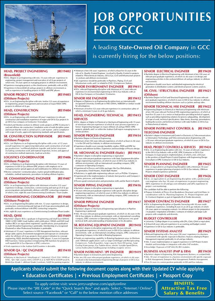 Job Opportunities for GCC – Leading State Owned Oil Company