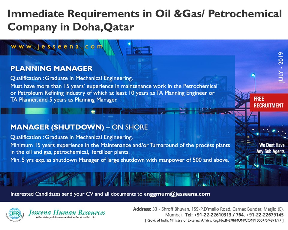 Free Recruitment - Immediate Requirements In Oil &Gas