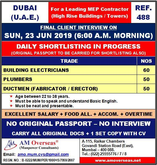 Required For a Leading MEP Contractor (High Rise Buildings