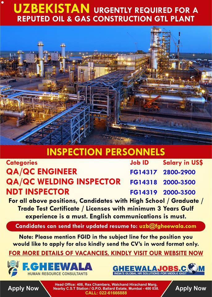 Hiring for Oil & Gas Construction Project in Uzbekistan – Inspectors