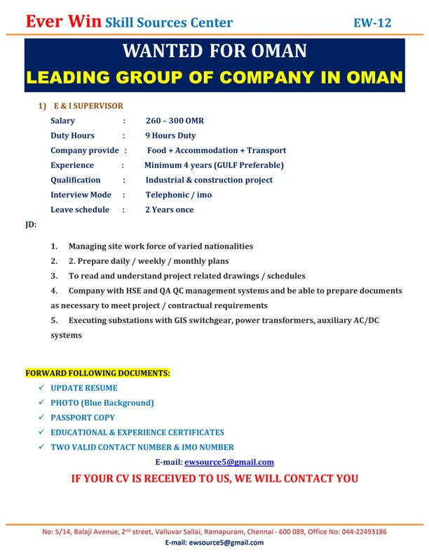 WANTED FOR OMAN-LEADING GROUP OF COMPANY IN OMAN