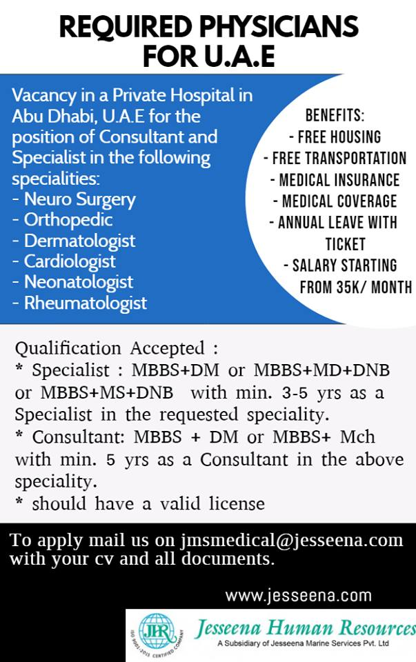 Immediate openings for Physicians in a private hospital in