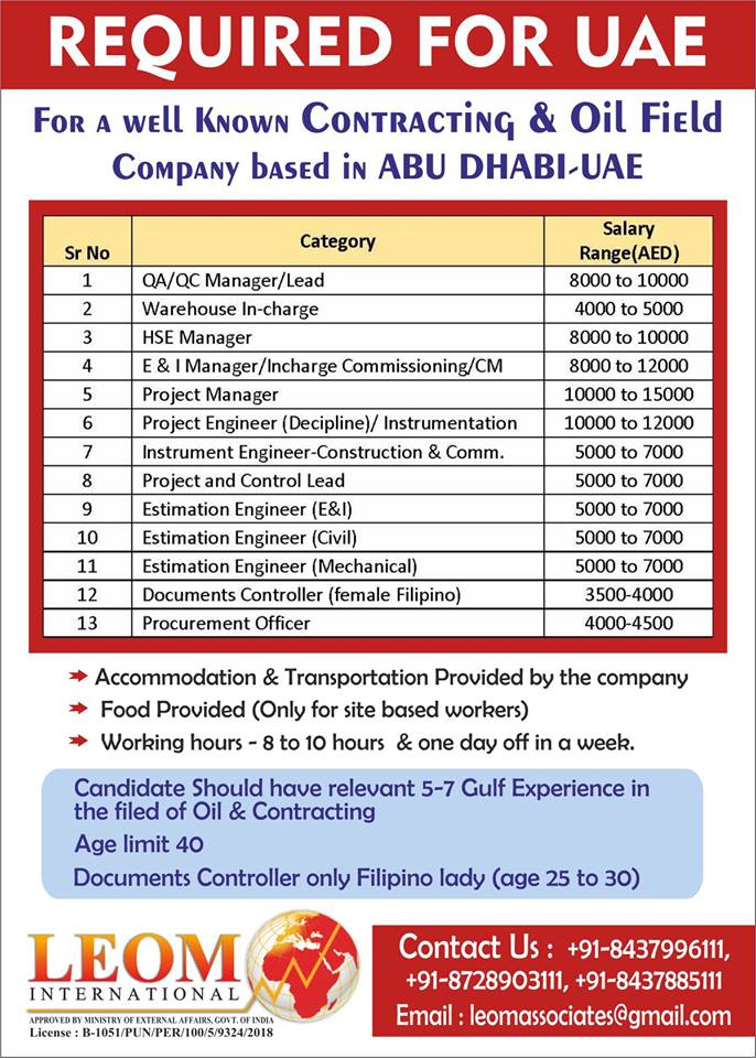 Required for Contracting & Oil Field Company Based in Abu Dhabi