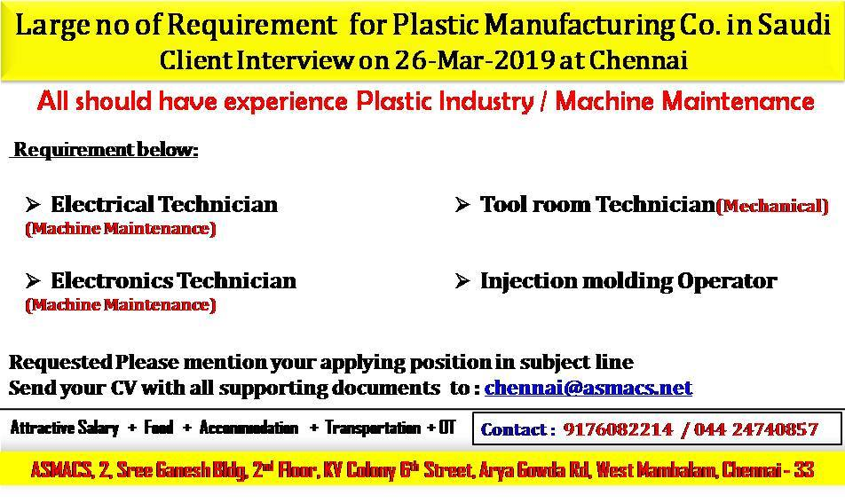 Large no of Requirement for Plastic Manufacturing Co  in Saudi Arabia