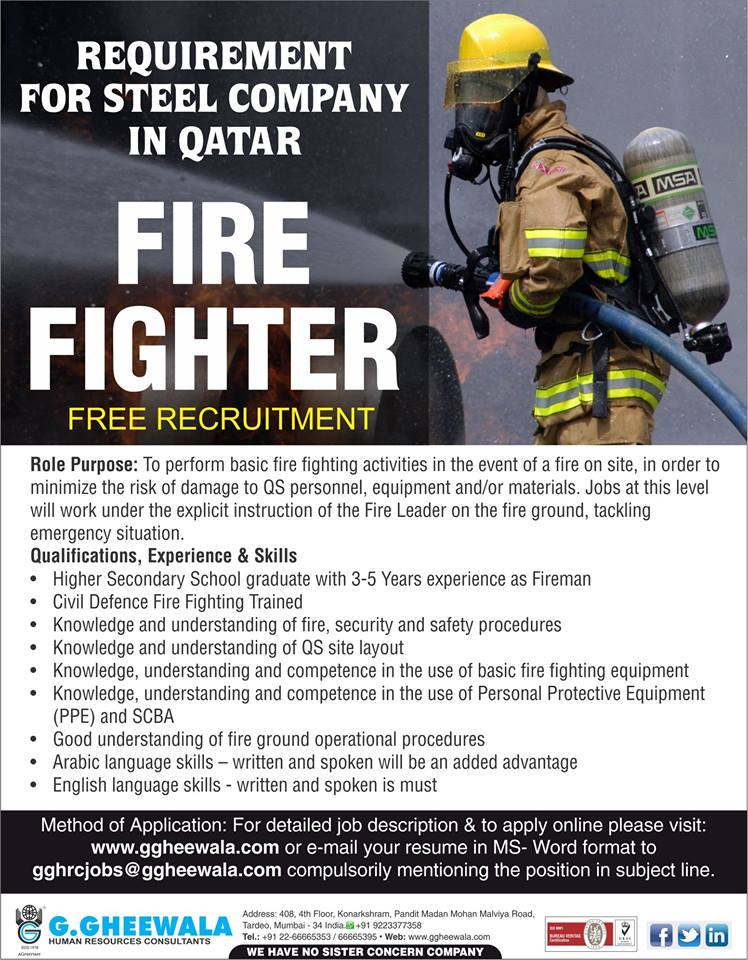 FREE RECRUITMENT FOR STEEL COMPANY IN QATAR -FIRE FIGHTER