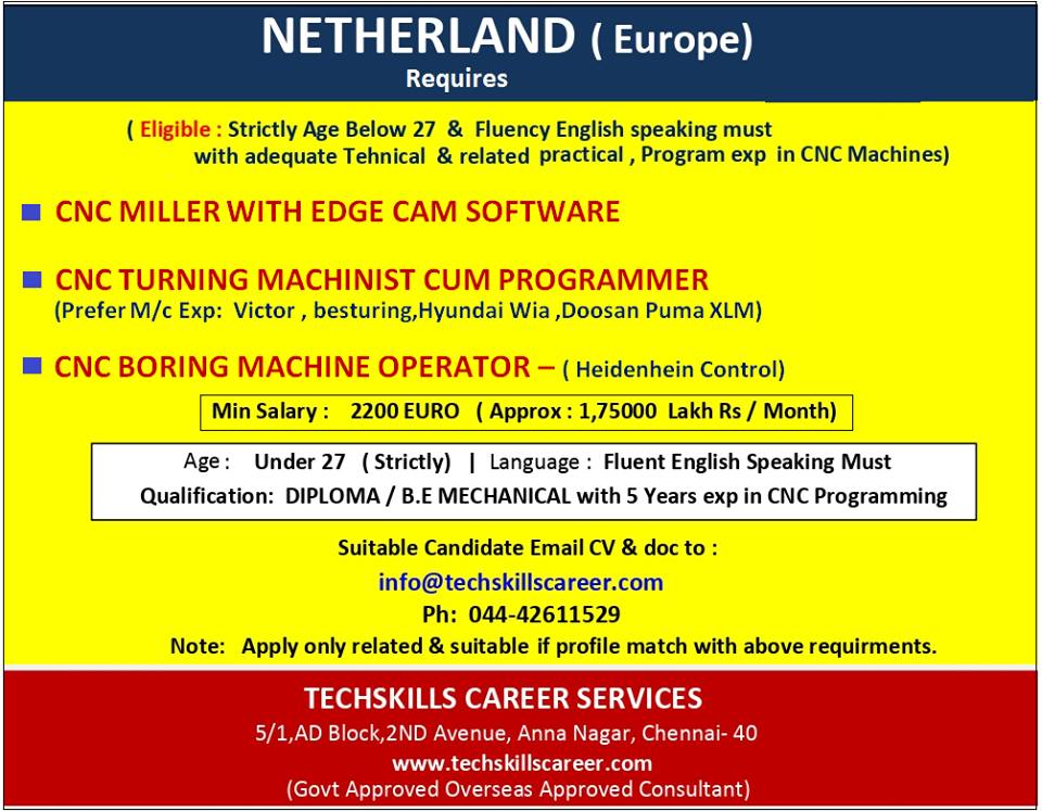 Hiring For Netherland Europe Cnc Programming And Other Cnc Jobs