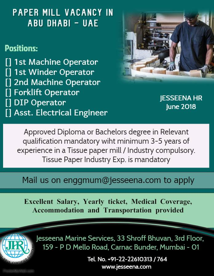 Vacancy for Tissue Paper Mill in Abudhabi, UAE