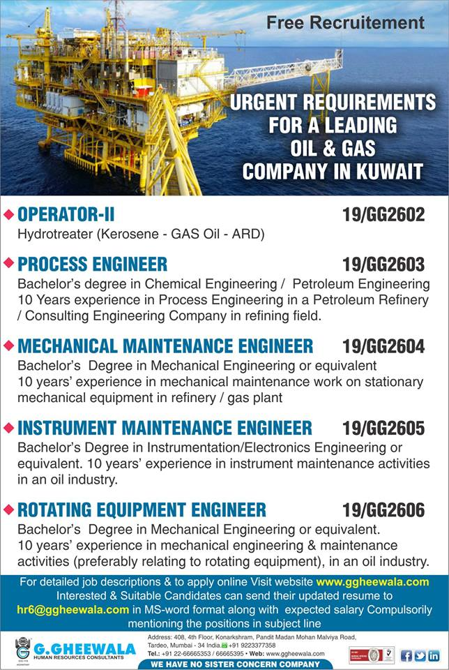 Free Recruitment - Urgent Requirements For Leading Oil & Gas