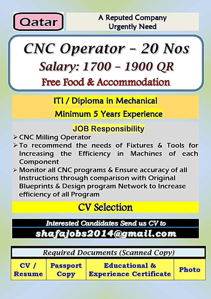 Cnc Operator For A Reputed Company Qatar