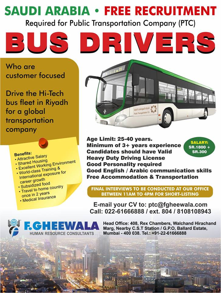 Free Recruitment-Bus Drivers for Public Transportation Company in