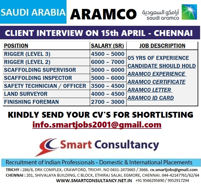 URGENTLY REQUIRED SRACO COMPANY CONSTRUCTION DIVISION ARAMCO