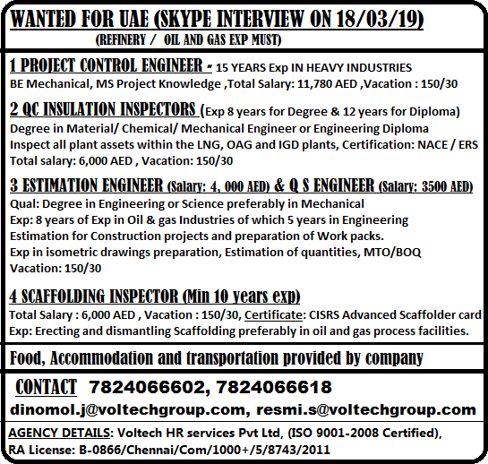 WANTED FOR UAE (SKYPE INTERVIEW ON 18/03/19)-REFINERY / OIL