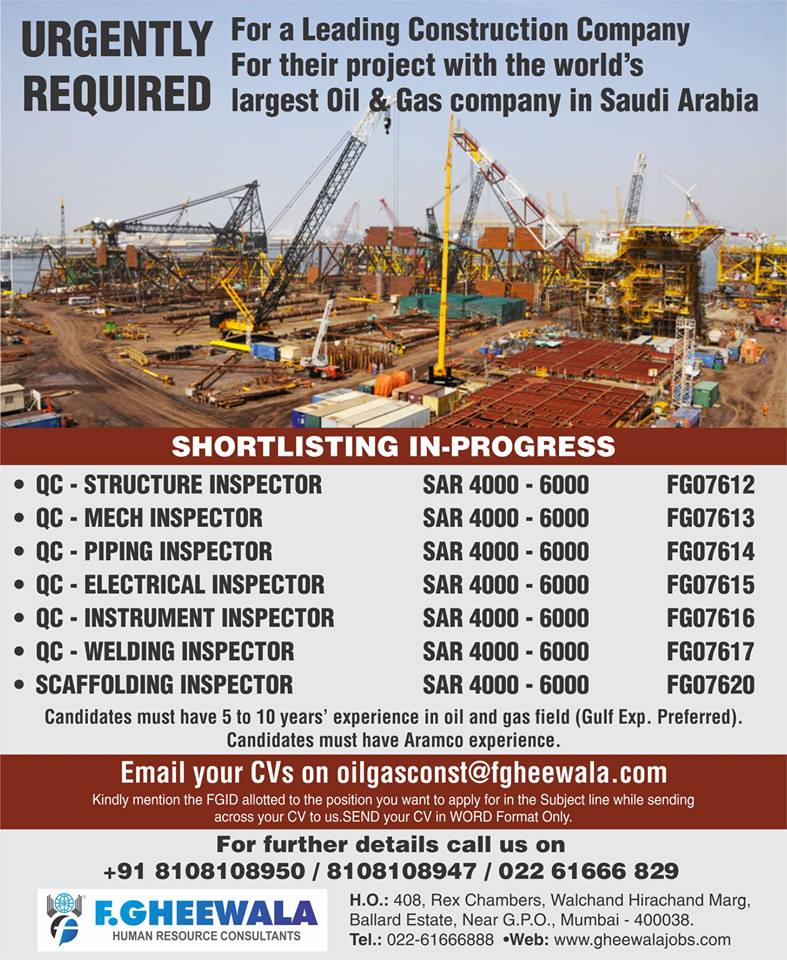 Urgently Required for World's Largest Oil & Gas Company in Saudi Arabia