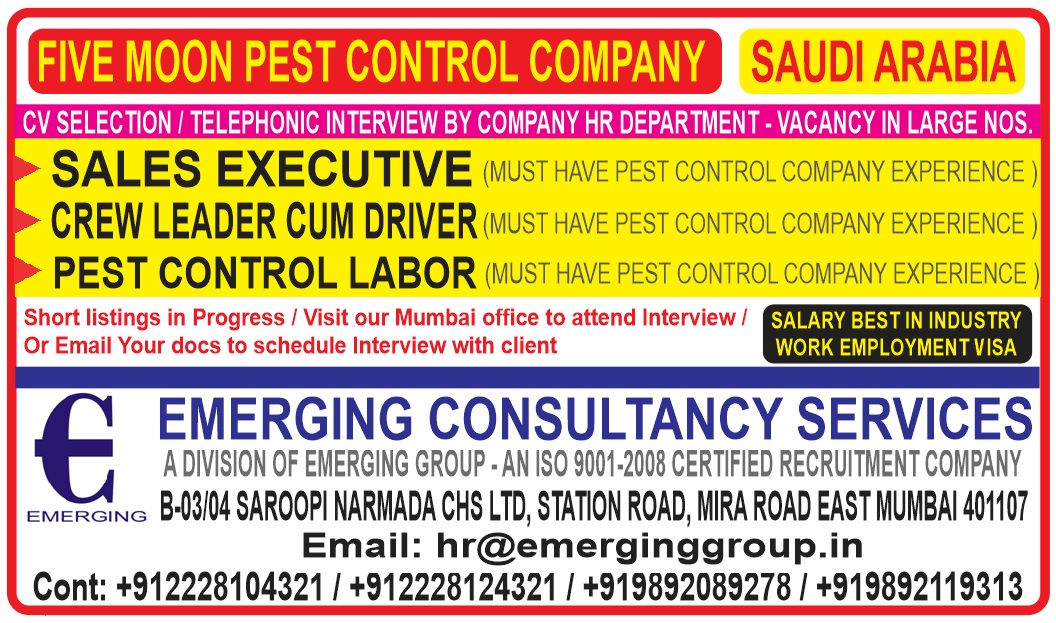 Five Moon Leading Pest Control Company In Saudi Arabia Urgently Required