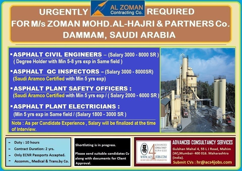 URGENTLY REQUIRED FOR M/S ZOMAN MOHD. AL-HAJRI & PARTNERS ...