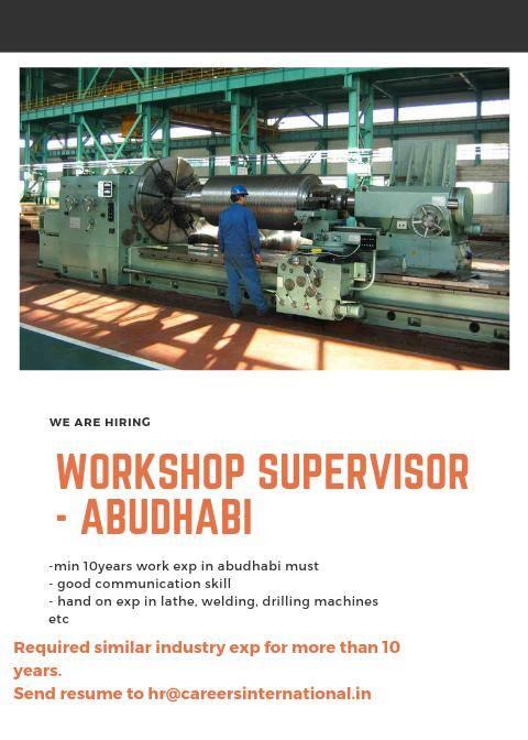 Hiring for Workshop Supervisor – Abu Dhabi
