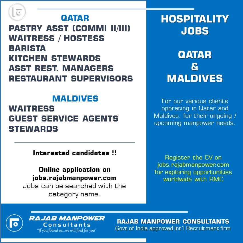 Various Hospitality jobs in Qatar and Maldives
