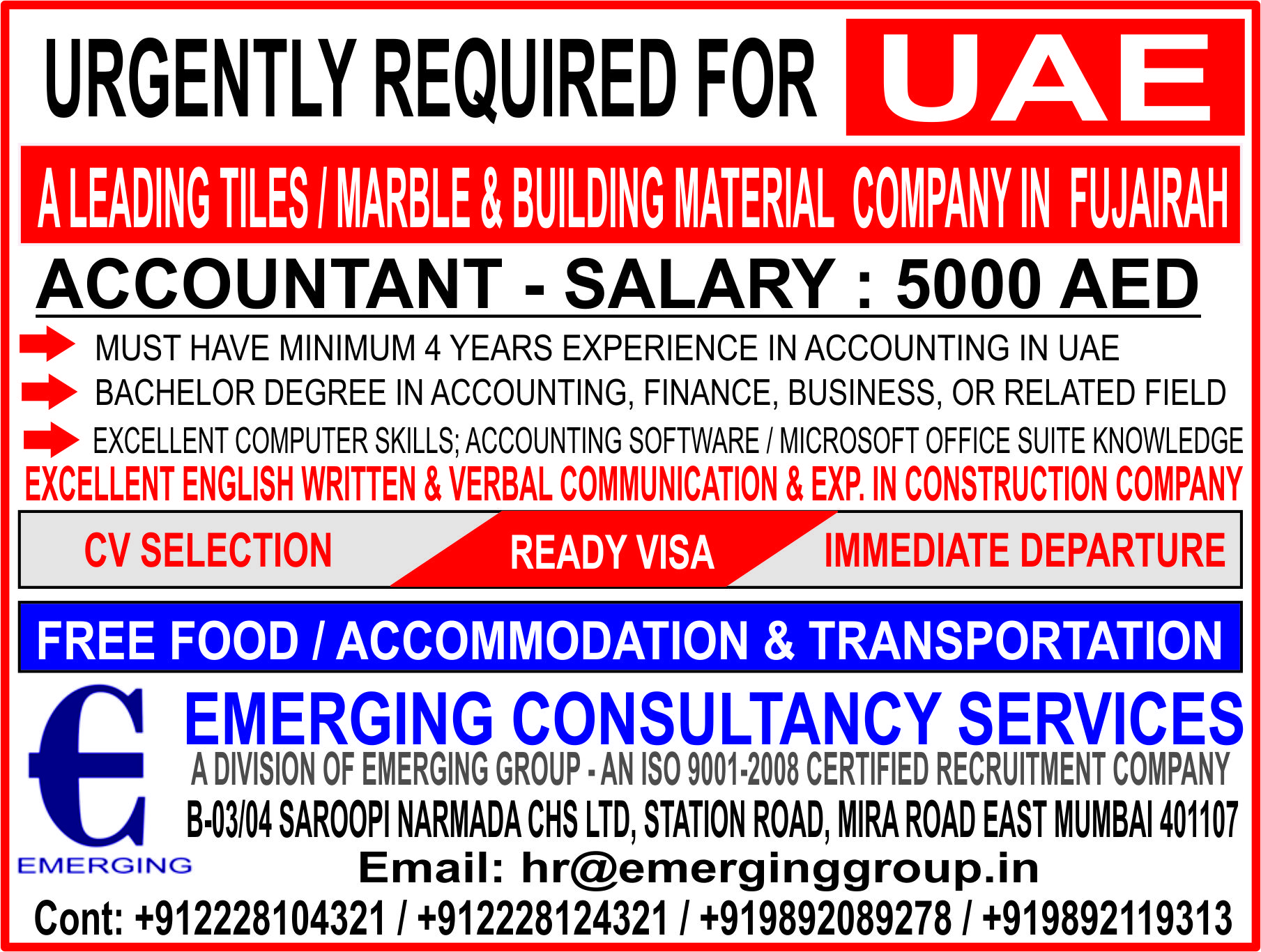 ACCOUNTANT - SALARY : 5000 AED - A LEADING TILES / MARBLE & BUILDING