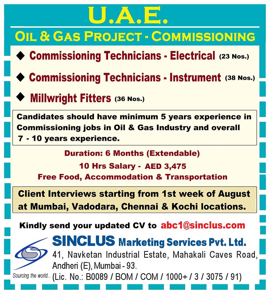Commissioning Jobs in UAE – Oil & Gas Project
