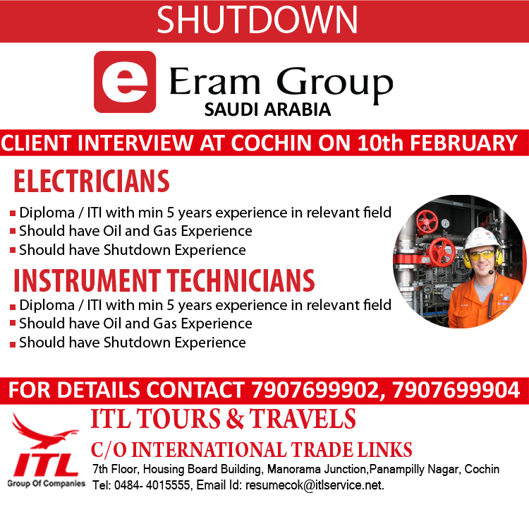 URGENT REQUIREMENT FOR M/S ERAM, KSA FOR THEIR SHUTDOWN PROJECTS