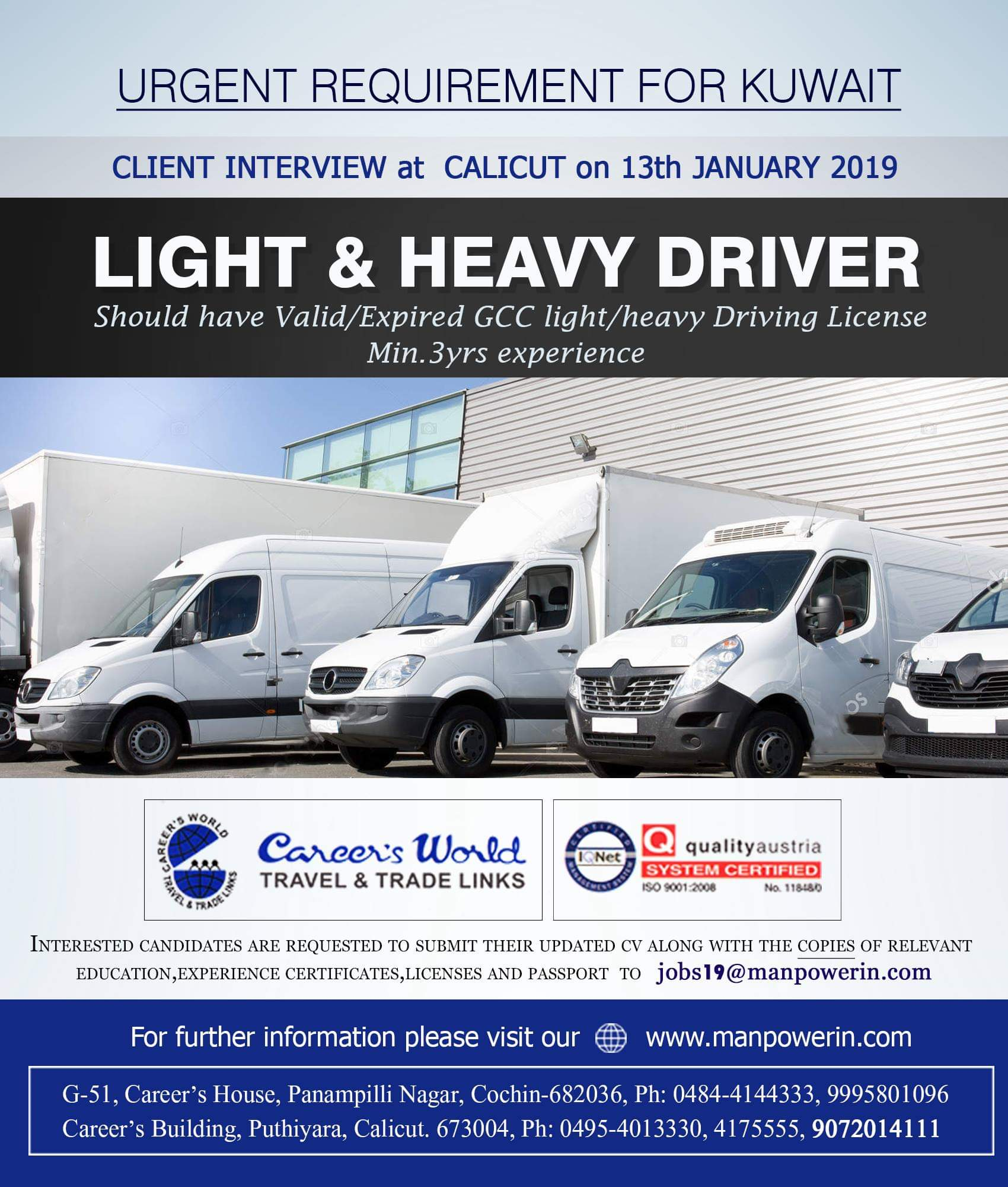 URGENT Requirement for KUWAIT- Light & Heavy Driver