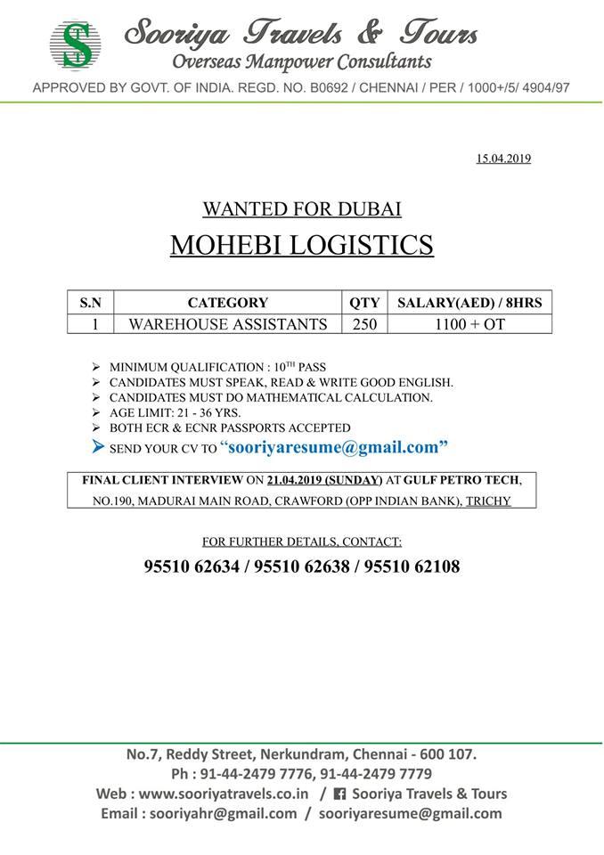 requirement for Reputed Logistics company -MOHEBI LOGISTICS